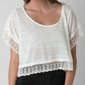 New O'Neill cropped lace top shirt
